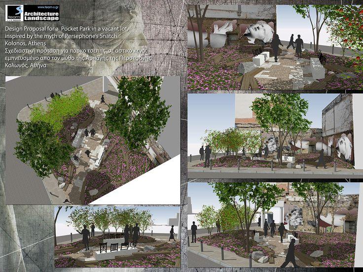 Design Proposal for a Pocket Park in a vacant lot, inspired by the myth of Persephone's Snatch, Kolonos, Athens, Greece   /  Σχεδιαστική πρόταση για πάρκο τσέπης σε αστικό κενό, εμπνευσμένο απο τον μύθο της αρπαγής της Περσεφόνης, Κολωνός, Αθήνα