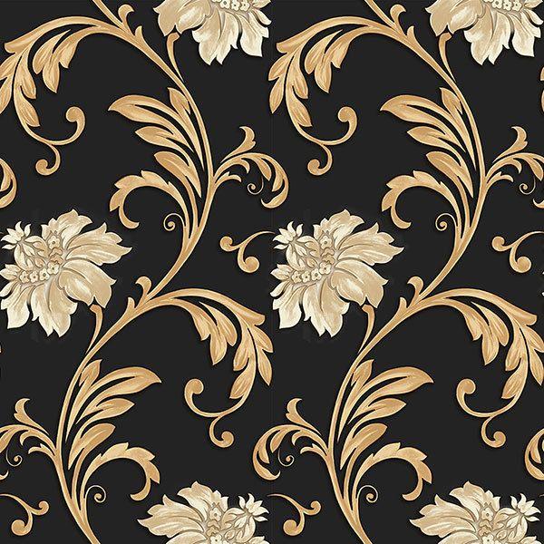 Norwall Concerto Jc20066 Floral Scroll Wallpaper Black Metallic Gold Cream The Savvy Decorator Wallpaper Wallpaper Roll Floral Wallpaper Black and cream floral wallpaper