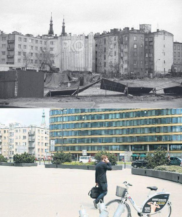 Widok z ronda Jazdy Polskiej w roku 1990 i w 2014