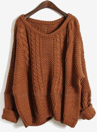 Coffee Batwing Long Sleeve Pullovers Sweater: