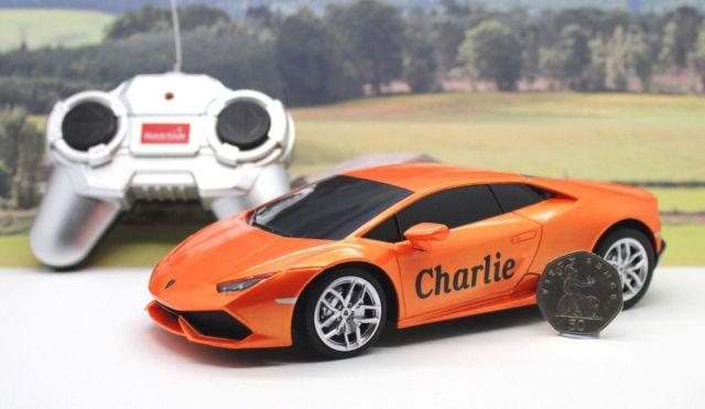 PERSONALISED NAME GIFT Radio Control Orange 1/24 Lamborghini Boxed