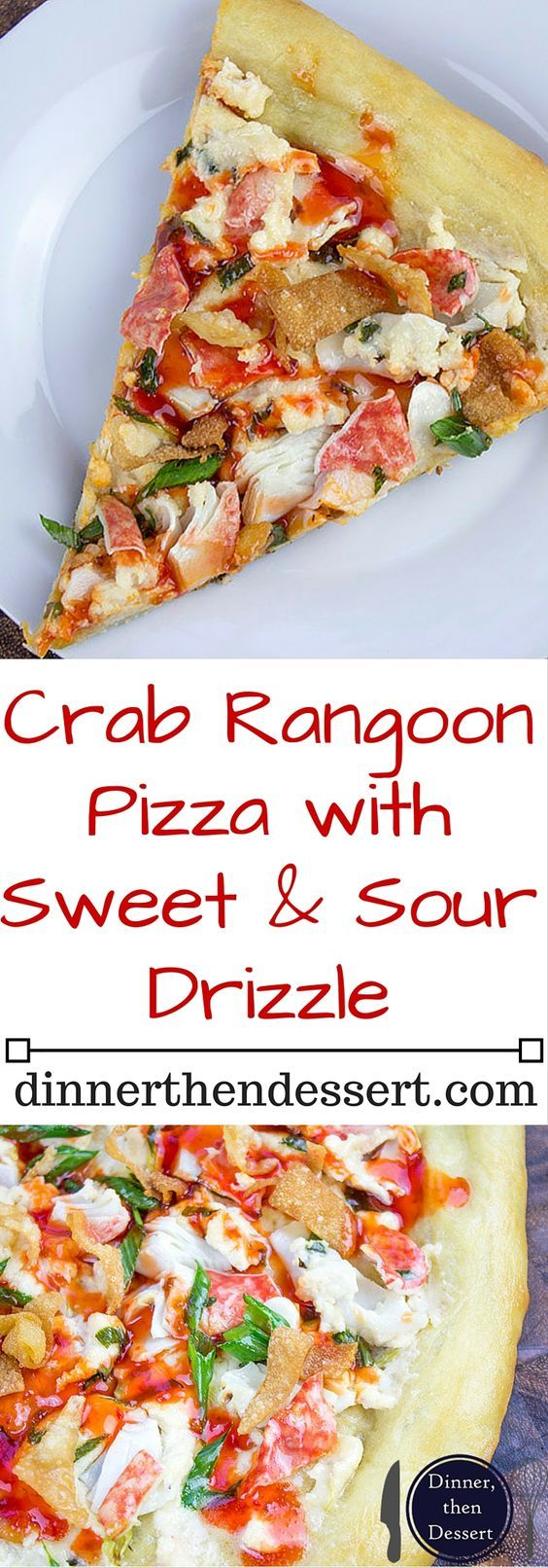 """This Crab Wonton Pizza with Sweet & Sour Drizzle is the answer to """"Pizza or Chinese?"""" and in the best possible way because you can make it at home! Crunchy, creamy, sweet and sour you'll find yourselves fighting over the last slice! LKDelights AD"""
