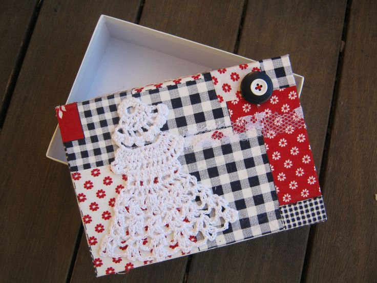 DOILY DAME GIFT BOX Materials Used: scrap material, handmade doily figure, buttons (sewn on), donated box.  https://www.facebook.com/RawRoughRecycled