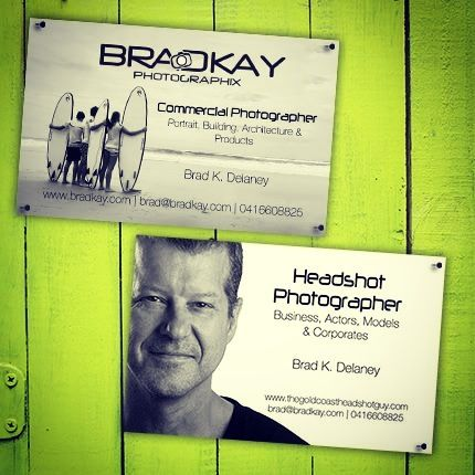 Business Card designs for Bradkay Photographix - specializing in headshots. Designed by www.concept-designs.com.au