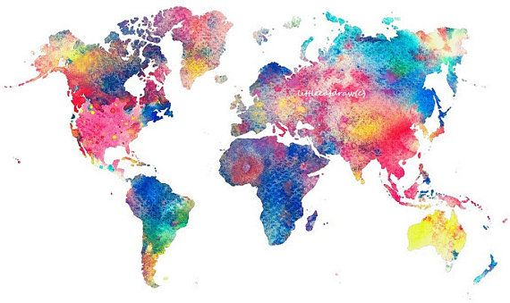 Abstract Colorful Rainbow World Map Art Print Watercolor Painting 4x6 5x7 8