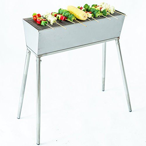 """C-Hopetree 22"""" Charcoal BBQ Grill for 20 Satay Yakatori Skewers Outdoor Portable Camping Barbecue - Stainless Steel  Try the hottest food trend at home with this restaurant-quality charcoal bbq satay grill, constructed from lightweight, rust-proof, heat-proof, commercial grade stainless steel. Easy to assemble and clean - simply spray it down with a garden hose.  Perfect for charcoal grilling without burning your fingers or setting bamboo skewers on fire. The easy-to-adjust vents contr..."""