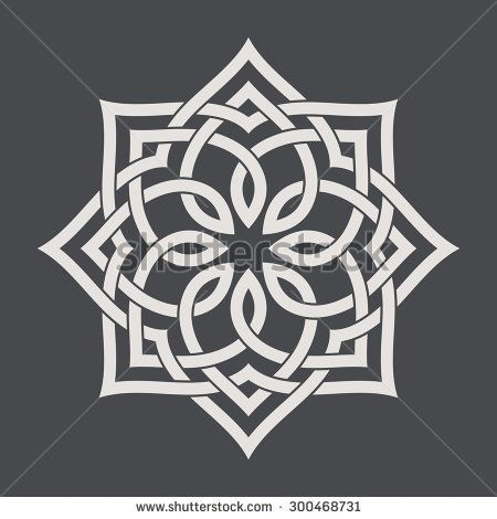 Circular pattern in arabesque style. Eight pointed star on dark background. Mandala. Lotus.