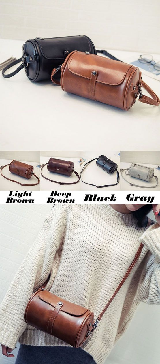 Retro Cylinder PU Rivets Simple Style Flap Zipper Lady Small Shoulder Bag for big sale! #shoulder #Bag #rivet #retro #women