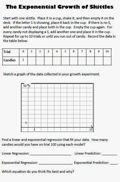 Worksheet Exponential Growth And Decay Worksheet 1000 ideas about exponential growth on pinterest equation math love modeling and decay with skittles