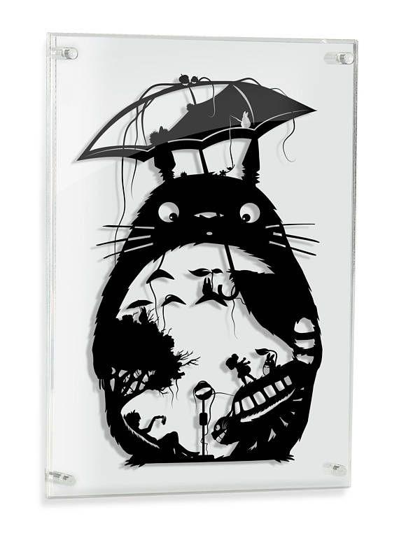 My Neighbor Totoro Art Studio Ghibli Miyazaki Papercut Anime Mei Satsuki Catbus Soot Sprite Forest Spirit Geek Gift Ghibli Home Decor FRAMED