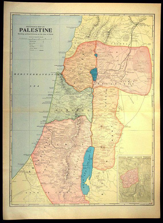 Holy Land Map LARGE Map of Palestine Israel Jerusalem Map Wall
