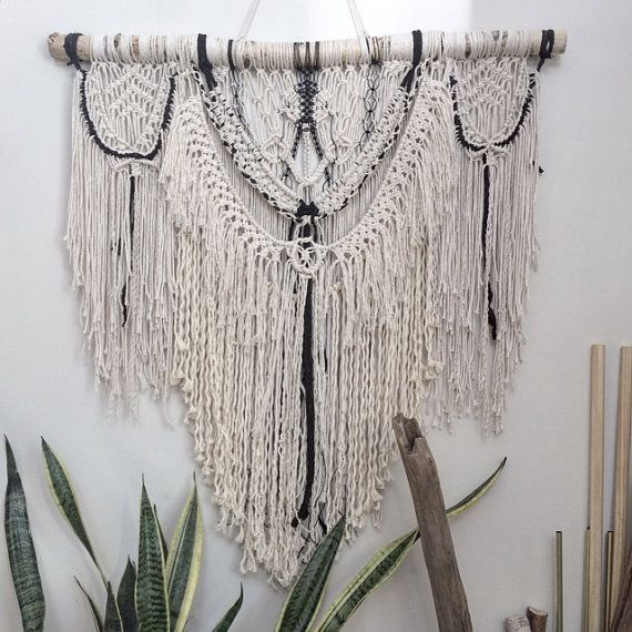 large macrame wall hanging bedroom nursery decor boho white and black macrame wall hanging monochrome macrame