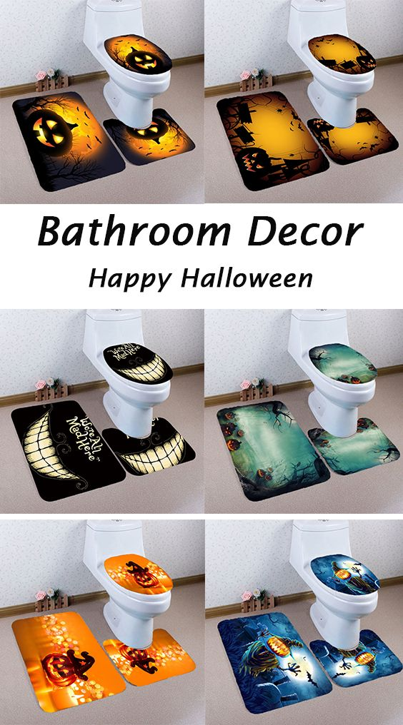 Bathroom decor ideas:Halloween Pumpkin Withered Tree Printed Bathroom Mats Set