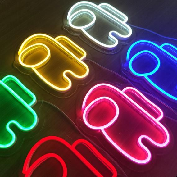 Among Us Neon Light Neon Lights Led Sign Wall Decoration Crewmate Imposter Game Imposters Gi Neon Lighting Wallpaper Iphone Neon Neon Light Signs