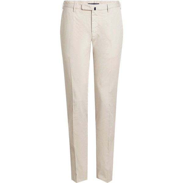 Incotex Royal Batavia Cotton Chinos ($295) ❤ liked on Polyvore featuring men's fashion, men's clothing, men's pants, men's casual pants, beige, men's casual cotton pants, mens slim fit pants, mens chino pants, mens chinos pants and mens long rise pants