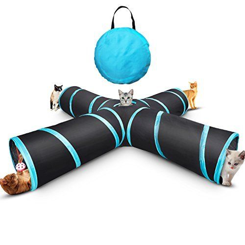 Myguru Cat Tunnel, Upgraded Collapsible 4 Way Crinkle Cat Toy Tube with Storage Bag & Cat…