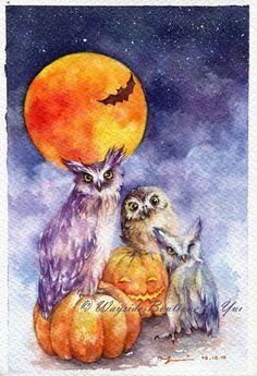 """AFDRUKKEN – Halloween nacht aquarel schilderen 7.5 x 11"""""""
