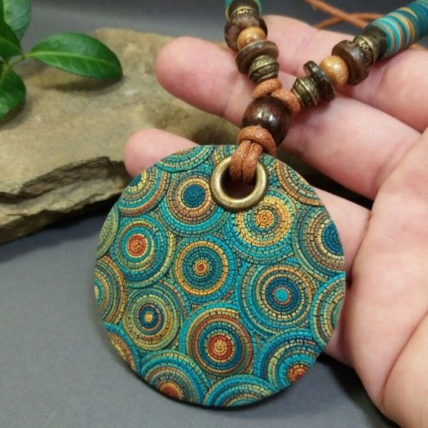 On Sale Gift For Her Gift For Woman Bright turquoise polymer clay pendant