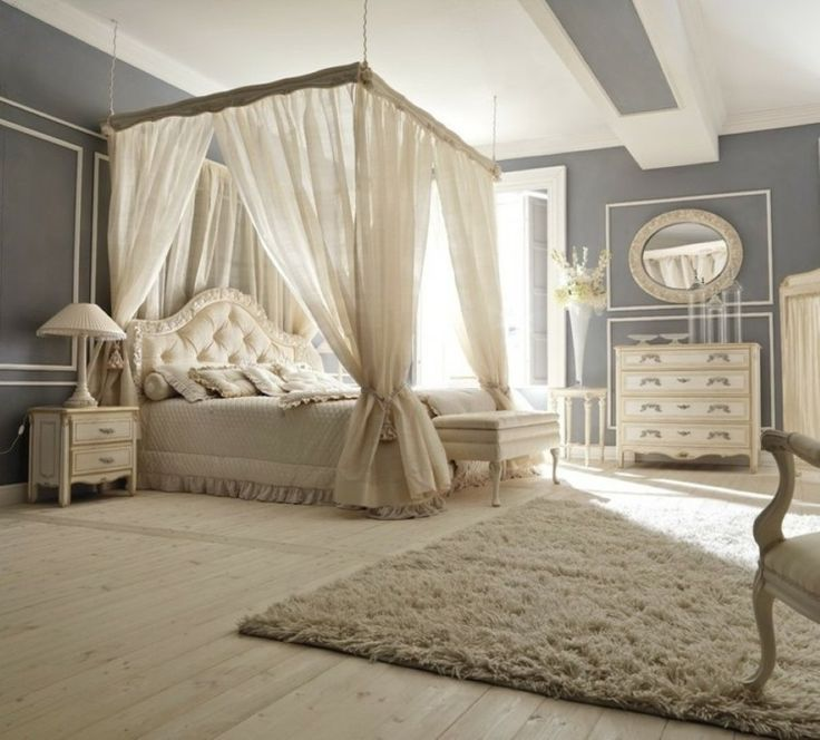 chambre coucher de dco romantique avec lit baldaquin - Lit Adulte A Baldaquin En Bois Massif
