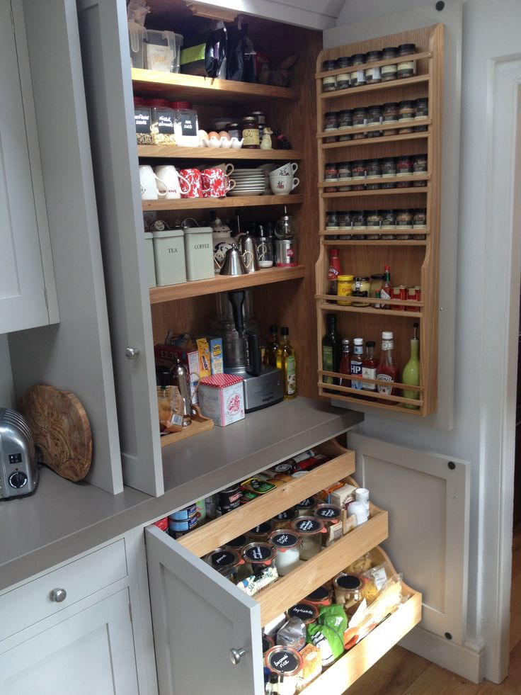 Lovely larder - pull out shelves in the bottom cupboards is a good idea - especially in a repurposed cabinet