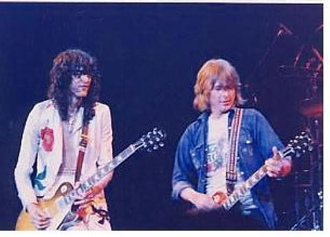 Jimmy Page of Led Zeppelin jamming with Mick Ralphs, from Bad Company - 1977