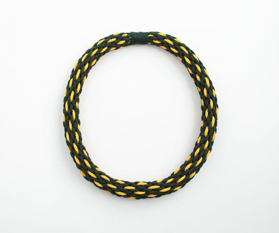 Dark green and yellow kumihimo braided necklace by elfinadesign, $35.00