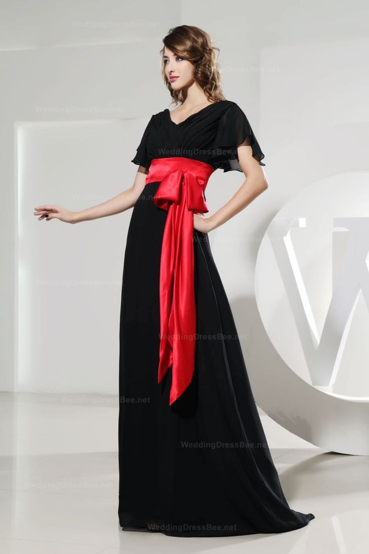 Charming Capped Sleeves A Line Chiffon Dress With Eye Caught Belt Sashes