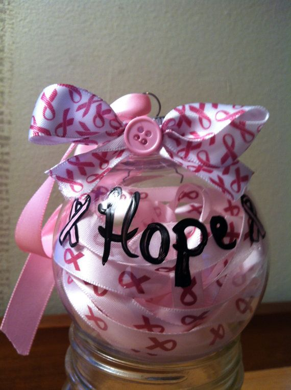 Breast Cancer Christmas Ornament. Would be nice to have blue for colon cancer for mom