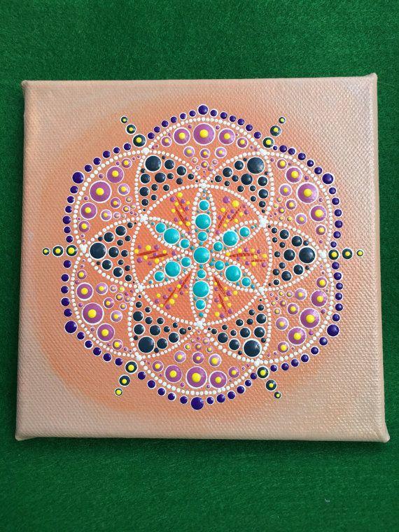 "Originele kunst Mandala Dot - zachte gloed - gratis frankeertegoed in Australië - 6 ""x 6"" originele Acryl schilderij"