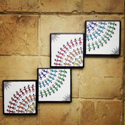 Colourful handmade, handpainted Warli Wall Art (Set of 4)