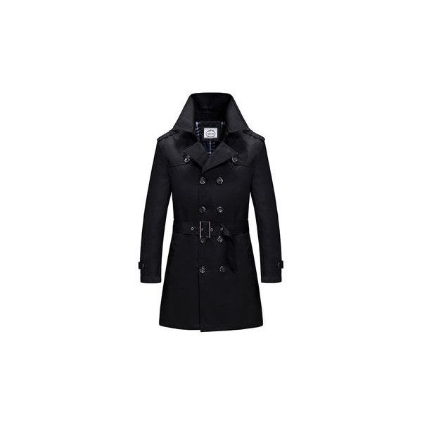 Business Casual Equalet Double Breasted Jacket Coat With Belt ($44) ❤ liked on Polyvore featuring men's fashion, men's clothing, men's outerwear, men's coats, black, mens fur lined coat, mens fur collar coat and mens double breasted coat