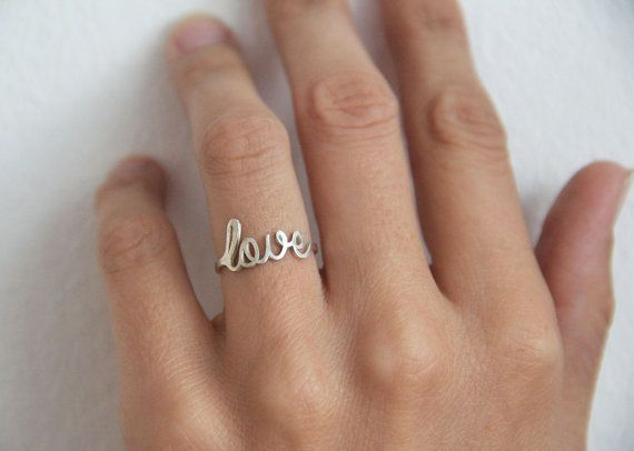 Thin Love Ring, Silver Love Ring, Sterling Silver Love Ring, Metalwork, Dainty Love Ring