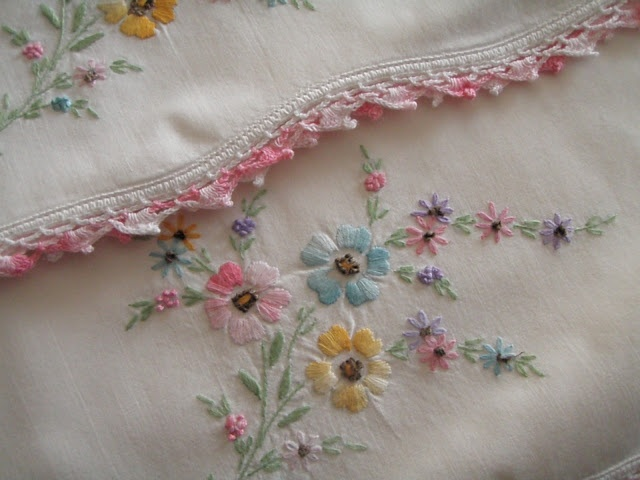 embroidery using variegated pastel thread...