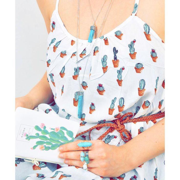 Cacti chica   cactus pattern dress turquoise necklace ring szputnyik