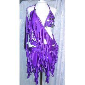 Abito da latino donna, realizzato in lycra viola, perfetto per gare ed esibizioni di ballo latino