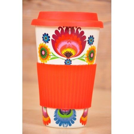 Folkowy kubek podrózny na kawę wzory