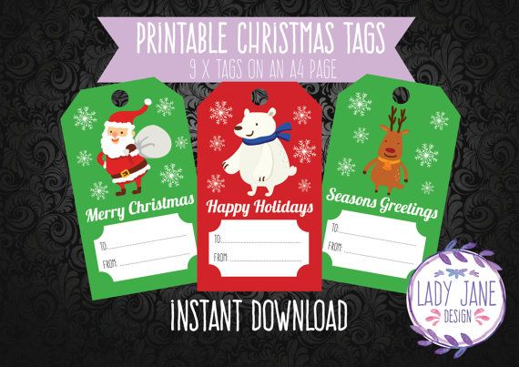 Printable Christmas Tags by LadyJaneDesign on Etsy