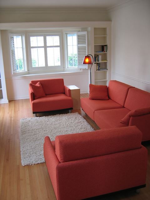 Modern Living Room with Red Sofa Set