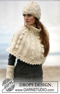 DROPS Cape, wrist warmers and hat with cable pattern in Eskimo ~ DROPS Design(#6 weight yarn)