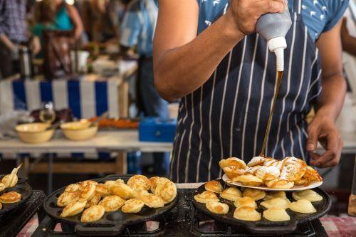 Frying Dutchman's Poffertjies at the Johannesburg Neighbourgoods Market, Gauteng. South African Cuisine.