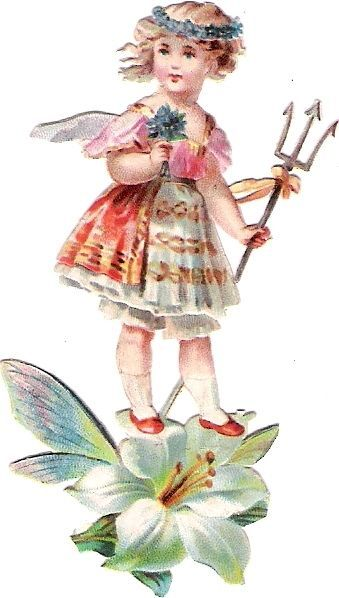 Oblaten Glanzbild scrap die cut chromo Engel angel Elfe elf  Fee Blumen Kind kid
