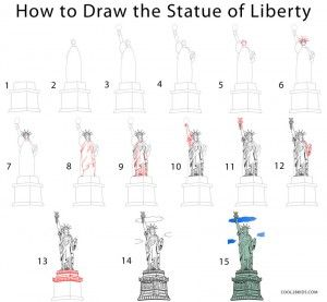 How to Draw the Statue of Liberty Step by Step Drawing Tutorials with Pictures.