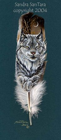 Twilight Repose -- Canadian Lynx feather painting print