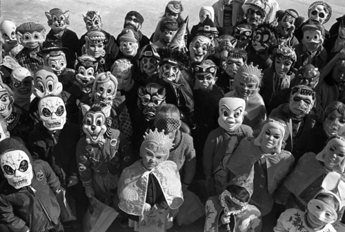 Halloween-1965  Makes me wonder if someday, someone will look at pictures of our Halloweens and think we're all weird and creepy....