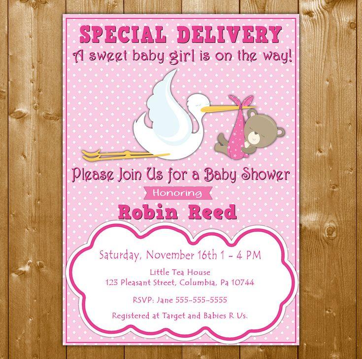 Stork Baby Shower Invitation - Baby Shower Invitation for a Girl - Teddy Bear - Pink Baby Shower Invitation - Stork Invite SK1001P