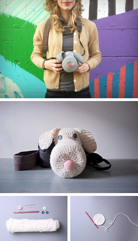 Yarn bomb your DSLR with this adorable camera Amigurumi! I really want to make like a lion or a unicorn or something
