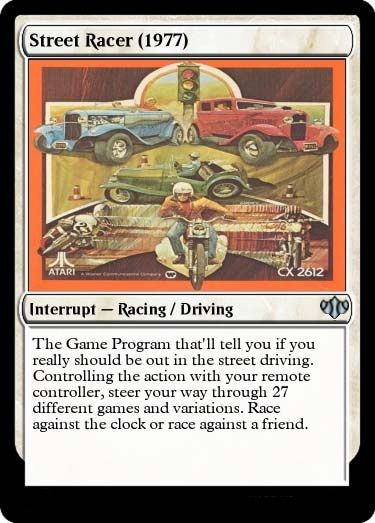 Atari 2600 was the best thing ever in 1977, as high speed racing game Street Racer clearly demonstrates over 27 identically boring variations.
