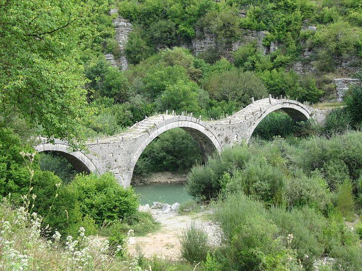 Bridge near the village of Kipoi, known as Plakida's or Kalokeriko (monk's) bridge; famous stone arch bridge in Vikos-Aoos National Park, Ioannina Prefecture, NW Greece