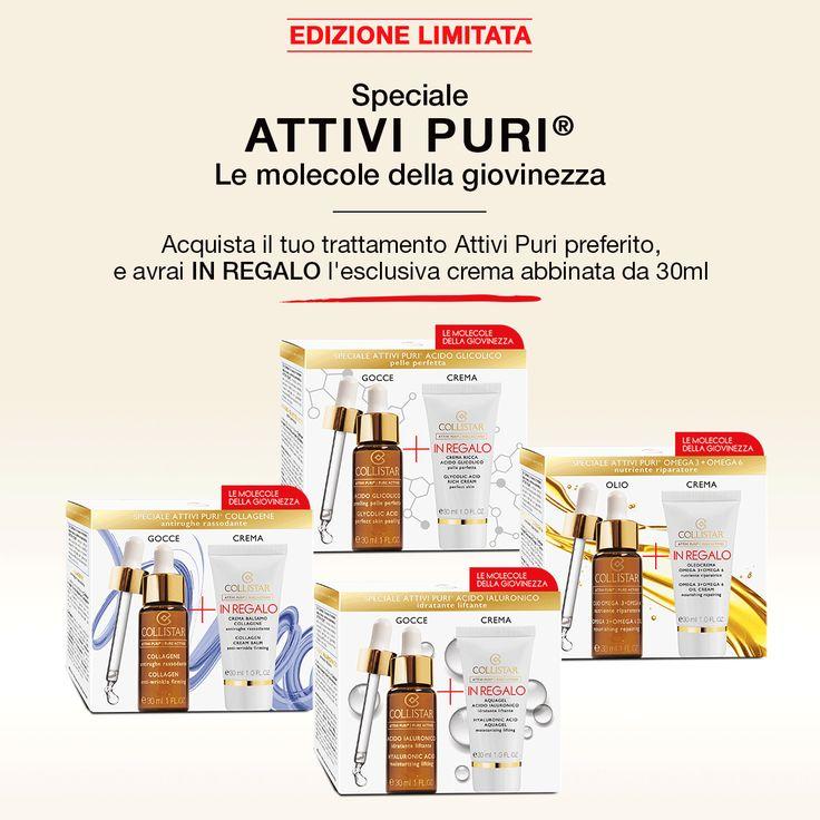 Speciale promozione ATTIVI PURI®: acquista il tuo trattamento in gocce preferito, subito IN REGALO* nella stessa confezione la crema corrispondente nello speciale formato da 30 ml! Acido Ialuronico, Collagene, Acido Glicolico o Omega3+Omega 6...quale scegli?