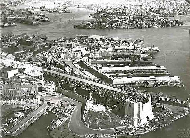 Sydney Harbour Bridge under construction - southern approach ( Sydney city side).
